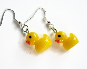 Rubber Ducky Earrings, Rubber Duckie Earrings, Bath Time Earrings, Yellow Duck Earrings, Acrylic Ducks, READY To Ship