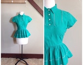 Spring Semester 1940s Green Peplum Blouse with White Open Work Trim Detail