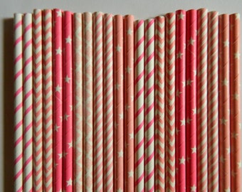 50 Mixed Pinks Stripe, Chevron, Stars and Damask Paper Straws- Baby Girl Shower Decorations- Birthday Party, Cake Pops, Bridal Shower