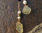 Kodiak Island Sea Glass Earrings from Alaska with Copper, Pearl and Stone beads