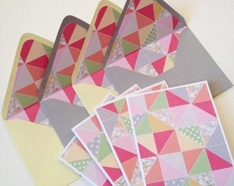 Set of 4 // Blank Note Card Set // Lined Envelopes // Decorative Envelopes // Blank Stationery // Patterned Envelopes // Handmade Envelopes