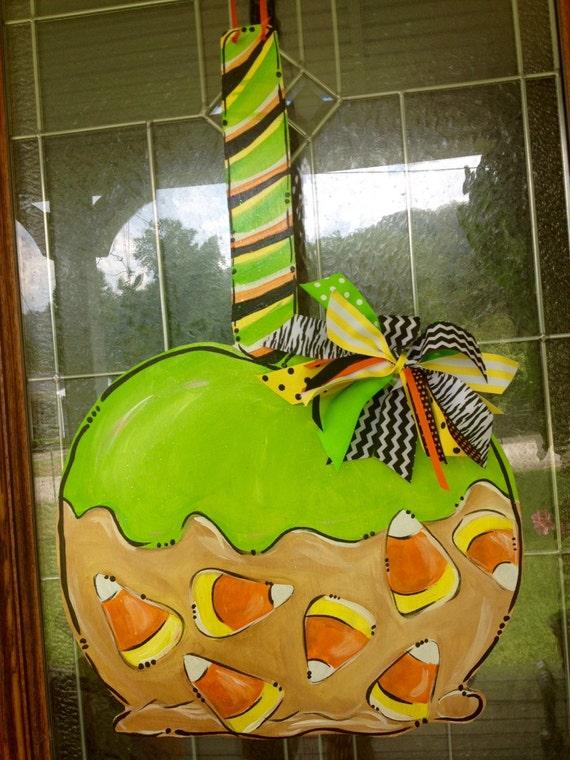 Decorating Ideas > Halloween Door Hanger Candy Apple Carmel Apple Candy Corn ~ 114701_Halloween Door Hangers Printable