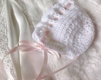 Baby girls crochet lacey bonnet,photo prop,christening,baby shower gift, vintage inspired.newborn 0-3,3-6 months