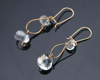Dangle Earrings,Curved  Gold Wire, Transparent Quartz, Modern Design, For Elegant Working Woman, For Any Outfit, Bridal