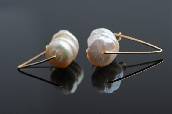 Pearl Earrings, Short Dangle, Lentil-Shaped, White, Geometric ,Triangle, GF,Bridal, Wedding, Modern, Elegant, Under 50
