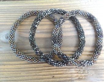 Metallic Textured Bronze Unique Handmade Beaded Bracelets Set,Seed Beads,Nepal, Japanese Beads,MB40