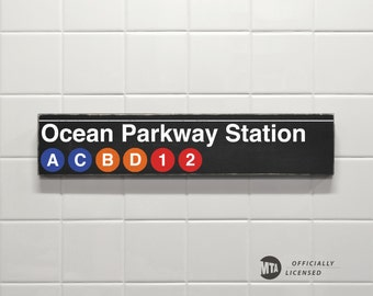 Ocean Parkway Station - New York City Subway Sign - Wood Sign