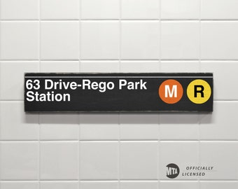 63 Drive-Rego Park Station, Orange and Yellow Lines - New York City Subway Sign - Hand Painted on Wood