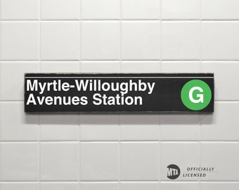 Myrtle- Willoughby Avenues Station - New York City Subway Sign - Wood Sign