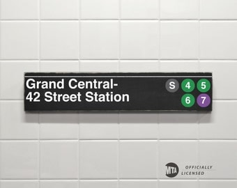 Grand Central- 42 Street Station - New York City Subway Sign - Wood Sign