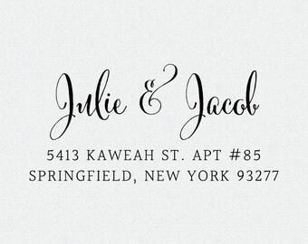 Simple Return Address Stamp, Self Inking Address Stamp, Return Address Stamp, Address Stamp Self Inking, Calligraphy Address Stamp (T294)