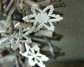 White Snowflake Pottery Rustic Decoration White Ceramic Ornament Set of 3 Christmas Decoration