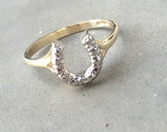 One Diamond Small Estate Horse Shoe Ring in 10K White and Yellow Gold