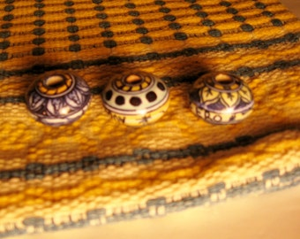 Vintage Yellow and Blue Cotton Woven Fabric and Matching Ceramic Glazed Beads/Blue and Yellow Woven Cloth with Matching Ceramic Beads