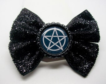 Pentagram Hairbow Glitter bow, horror, goth, hair clip, bow, witch, horrorpunk, Pentacle, Occult