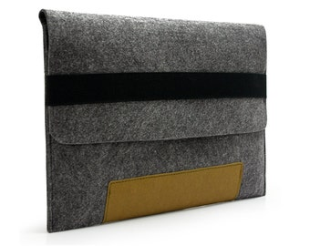Felt Macbook Case Sleeve Kraft Paper Bottom Bag Sleeve with Black Elastic Band for 13'' Macbook Air Pro Retina Pro 11'' 15'' Macbook KE51