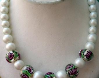 Lampwork Necklace-Rose Necklace