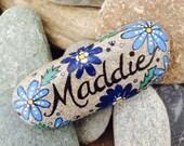 "Happy Rock - ""Maddie"" - Hand-Painted River Rock - Custom Rocks"