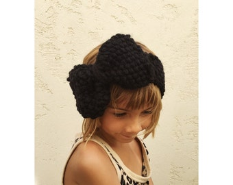 Girls Knit Big Bow Headband - Chunky Knit in Black Bow Head Band