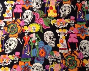 Los Novios on Black Quilting Fabric, Alexander Henry Fabric, 3/4 Yard