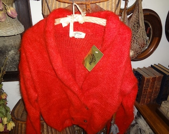 Beautiful Candy Apple RED Angora double breasted sweater with original tag