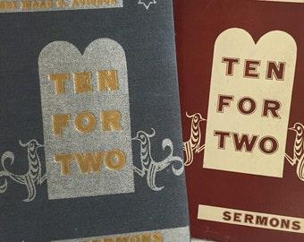 Ten For Two Sermons by Rabbi Avigdor Vintage Book Religious Hebrew Spiritual Holiday Judaica