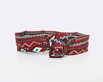 southwestern, tribal, aztec, fall, red, aqua, mint, wire twist headband, turban head wrap, retro dolly bow style - one size fits all