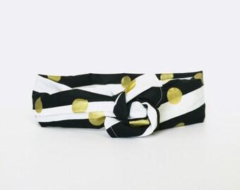 polka dots, gold, black & gold, stripes, neutral, fall, retro, wire wrap headband, twist turban head wrap - one size fits all