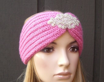 Knitted Headband Head Wrap Winter Ear Warmer Pink with Sparkle Bead Applique