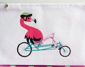 Pink Flamingo Tour de France zippered pouch