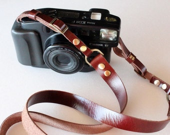 Maroon  Leather   Camera Strap
