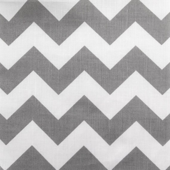 Poly Cotton Big Chevron Zigzag Stripes Grey and White 60 Inch Wide ...