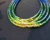 Seed bead bracelet, beaded bracelet set, Green Ombre jewelry,Ombre beaded bracelet,blue seeded bracelet, green bracelet set, Beaded bracelet