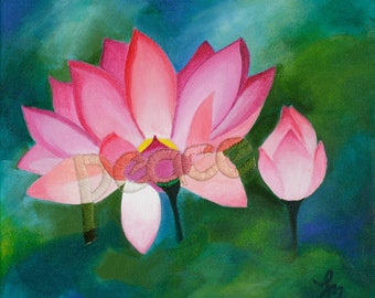 Embroidered Painting. Peace in My Secret Garden. Zen Lotus Flower Original Artwork. Pink and Green. Yoga Studio Decor. Peace and Love.