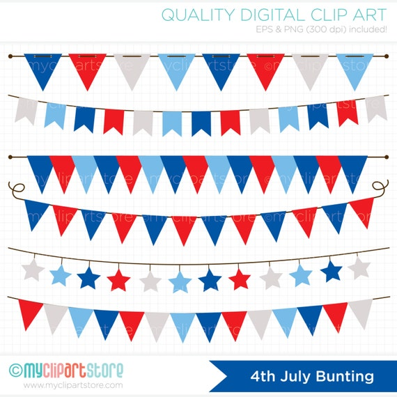 Bunting 4th of July / Independence Day Clipart by ...