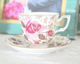 Vintage Tea Cup and Saucer Set by Royal Tara, Rose Chintz Pattern, Fine Bone China, Gifts for Her, Tea Party