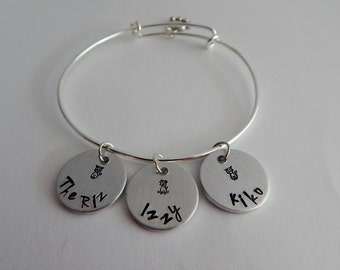 Personalized Pet Bracelet / Hand Stamped Adjustable Bracelet with Personalized Name Charm and Paw Charm / Hand Stamped Custom Pet Bracelet