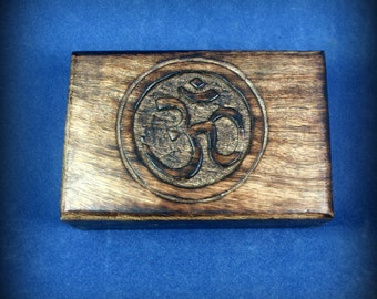 Carved wooden box with Om symbol - 4 x 6 inches - om, ohm, aum