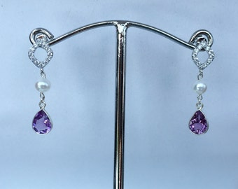 Sterling Silver CZ Posts with Amethyst and Pearls
