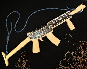 Rubber Band Gun / Full-Auto Rubber Band Submachine Gun with Stock / long rifle style / classic wooded toy / Handmade in Alaska, USA