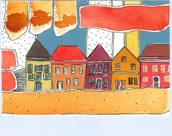 """Wall Art ,""""  Beach Houses  """" , Warm Colors , Small Houses , Watercolor Painting"""