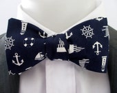 """Mens bowtie  - """" Nautical""""  fabric in Navy blue and white  -  classic shape bowtie"""