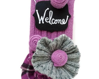 Purple Welcome Sign Door Knob Sign Knitted & Plaid Welcome