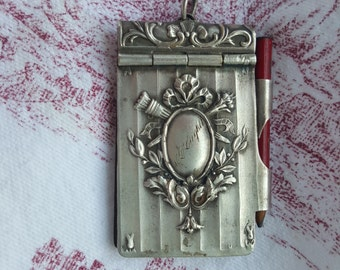 Exquisite French Antique Silver Notebook, silverplated,  Chatelaine, dance card, carnet de bal
