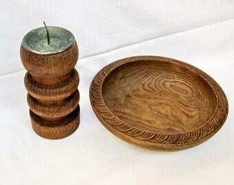 Vintage Wood Carved Bowl Candlestick holder Handmade Home decor table top