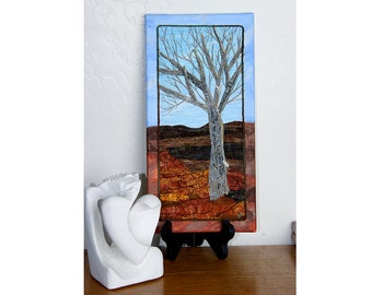 Quilted Fiber Art on Canvas, Tree Quilt, Small Quilted Wall Art
