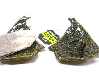 Sailboat Ring Dish, Teabag Holder, Teabag Rest, Teaspoon Rest, Ceramic Ring Dish, Pottery Ring Dish, Teabag Holder, in Green