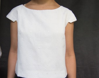 White cap sleeve blouse/ structural tee