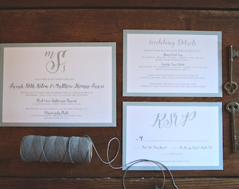 Sage & Stripe Preppy Wedding Invitation Suite