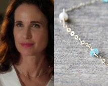 Apatite Necklace,  Apatite and Pearl Necklace - As Seen On Cedar Cove